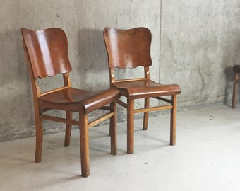 3 1940's' vintage chairs oak frame & shaped back rest (available individually)