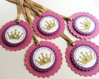 Disney Princess Gift tags - Princess gift tags - Crown gift tags- Princess Favor Tags - 12 per pack - Handmade - Customizable