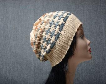 beige womens beanie mens beanie womens gift beanie hat blue beanie knitting accessories, slouchy hat, knitting hat, mens gift