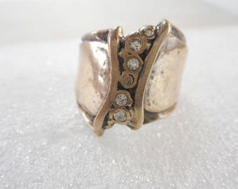 Vintage Sterling Silver Wide Art Deco Cigar Band Size 8