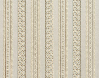 Light Blue, Taupe and Champagne Striped Damask Brocade Upholstery Fabric By The Yard | Pattern # B0710F