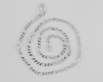 "Sterling Silver 3mm Figaro Chain Necklace, Choice of 18"", 24"" or 30"" - 080"