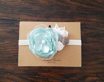 Mint green and ivory baby headband, flower girl headband, newborn photography prop, newborn headband, mint green headband, vintage headband