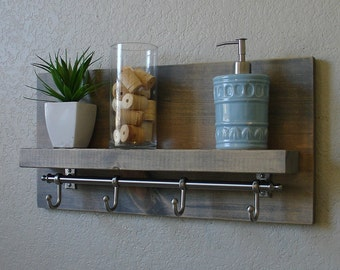 Simply Modern Rustic Bathroom Shelf with Satin Nickel Rail Towel Hooks