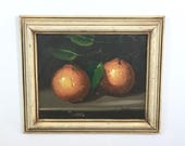 Vintage Fruit Still Life Framed Original Painting, Oranges, Signed Art