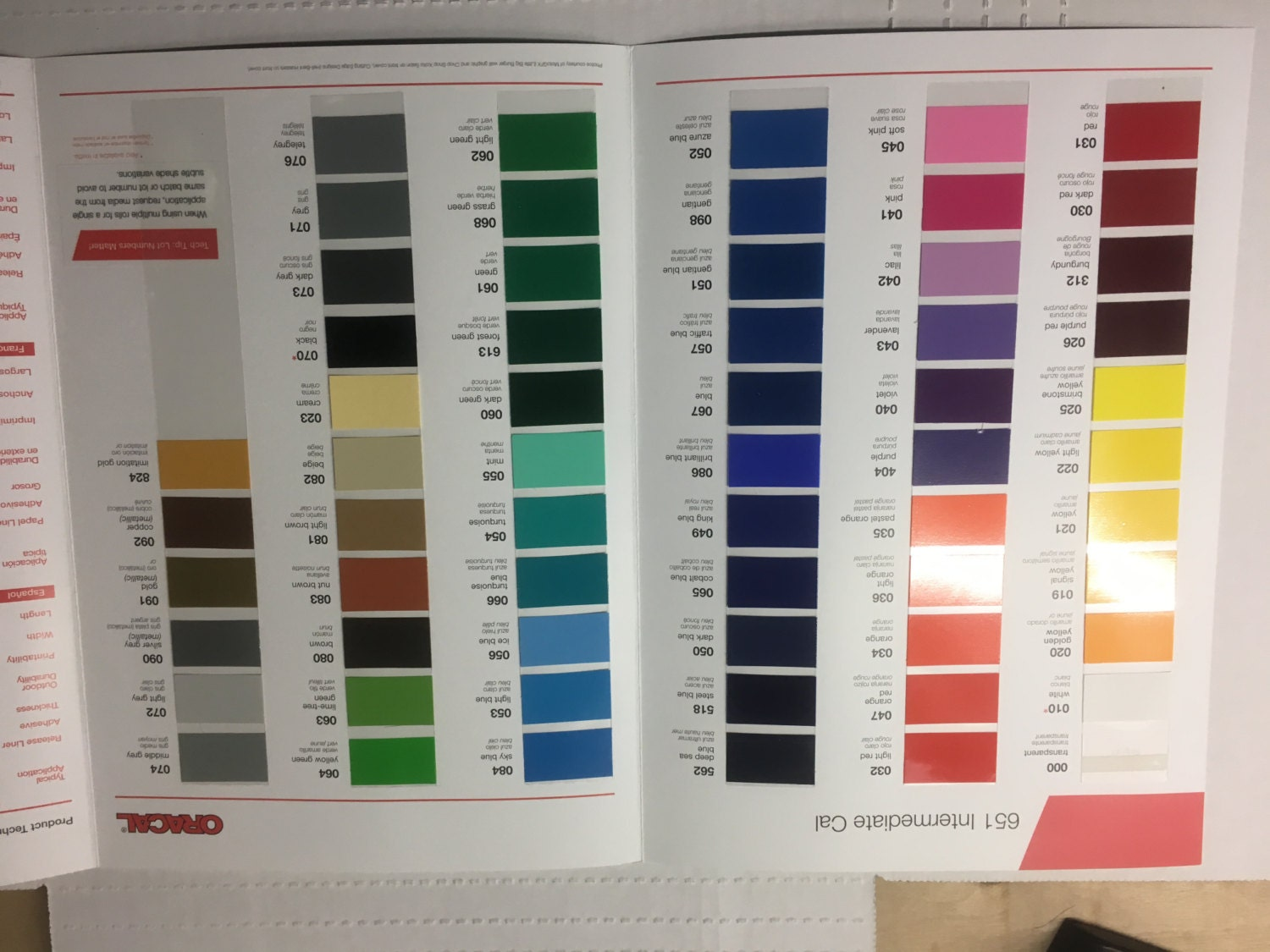 Oracal 651 Color Guide Glossy Permanent Vinyl for