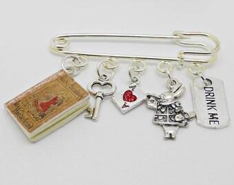 Alice In Wonderland  Kilt Pin, Alice In Wonderland Brooch,  Alice In Wonderland Jewellery, White Rabbit Pin, Drink Me Brooch, Gift for Her
