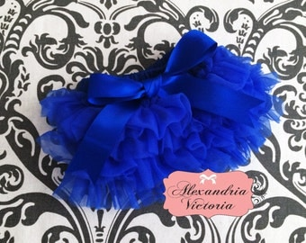 ROYAL BLUE BLOOMER with Bow, chiffon ruffle diaper cover, photo prop, newborn ruffle bloomer~ready to ship!