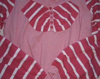 Beautiful Red White Stripped Cotton Tunics Top L XL