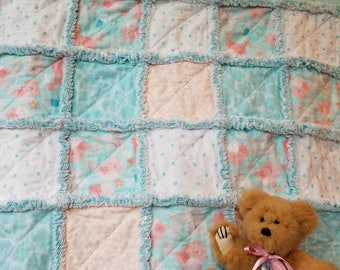 Aqua and peach flannel rag quilt lovey / security blanket