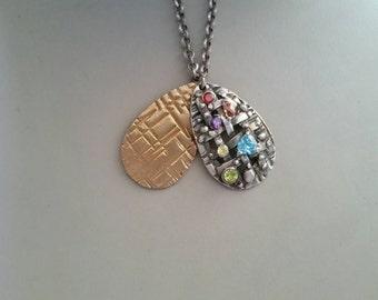 Fine silver and lemon brass necklace