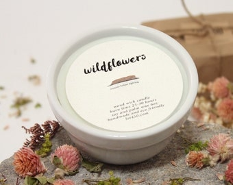 Wildflowers Scented Wood Wick Candle, White Container Candle, Eco Friendly Soy and Palm Wax, 6 oz
