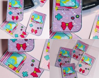 Magical Girl Gameboy Style Holographic Sticker