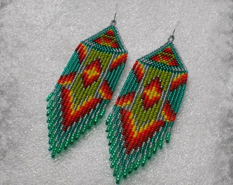 Long Indian style beads earrings ,  tribal style , boho style , Native American Beaded Earrings