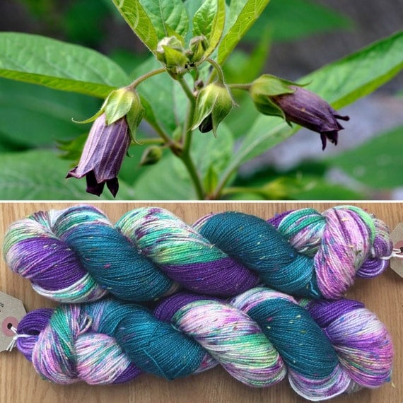 Deadly Nightshade Donegal sock, speckled textured indie dyed merino yarn