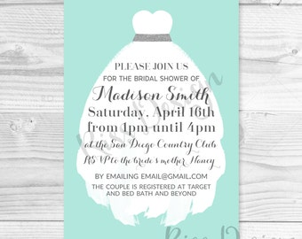 Bridal Shower Invitation with Wedding Dress PRINTABLE / Wedding Shower Invitation / Bridal Invitation / Rustic / Vintage Bridal Invite