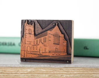 Vintage Church Letterpress Print Block Stamp, Copper Wood Printing Stamp, Old Church, Print Press Stamps, Salvage, Assemblage Art Supply