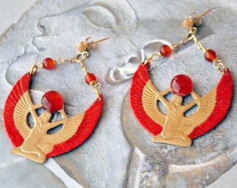 Egyptian Isis, Carnelian and gold brass gold-plated nail earrings