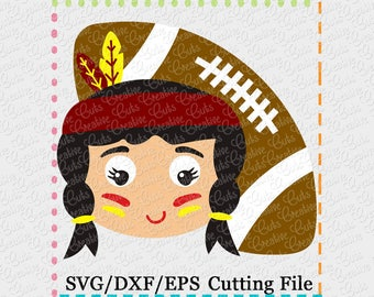 EXCLUSIVE SVG eps DXF Cutting File Indian Girl Football svg, mascot svg, football svg, indians svg, seminoles svg, indian cut file seminoles