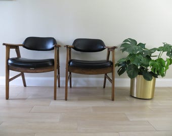 Mid Century Chairs - Miller Murphy - Accent - Office Chairs - Black - Kroehler Mfg. Co. (Pair)