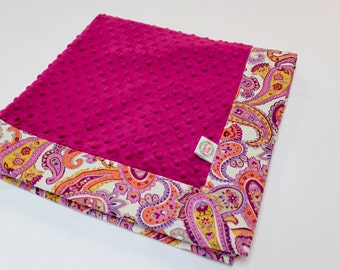 Pink Minky Dot Baby Blanket with Paisley Print Fabric