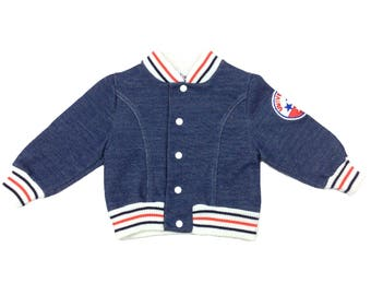 Vintage french baby blue baseball jacket 6-12 months