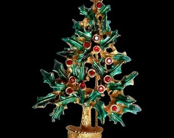 Vintage Holly Christmas Tree Brooch Signed MYLU - Book piece