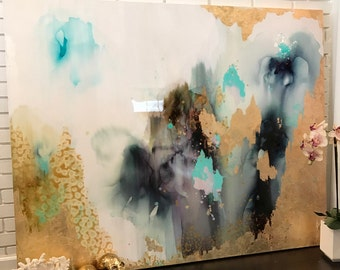 "Sold! Abstract Painting Aqua, Green, Pastel, Ombre Glitter with Glass and Resin Coat 48"" x 60"" real gold leaf"