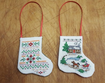 Counted Cross Stitch Stocking Ornaments - Set of Two