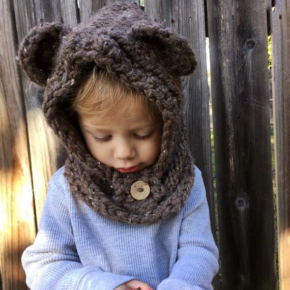 Chunky knit ewok hood. Photo prop. Baby-adult sizes.
