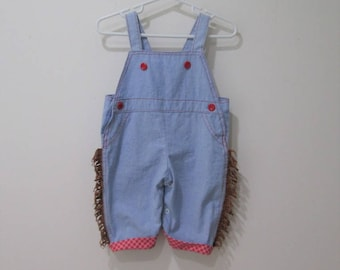 Vtg fringed cotton denim western overalls with red trim size 6-9 months