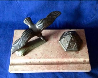 Art Deco Bronze/Spelter Inkwell and Bird on Marble  Base by French Sculpteur Maurice Frecourt.