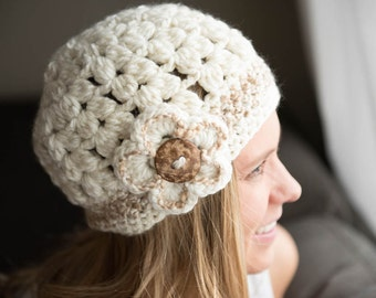 Woman's Teen Cream Crochet Bubble Hat with Flower and Coconut Button