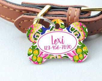 Personalized Pet ID Tag - Colorful Personalized Pet Tag - Custom Pet ID Tag - Tropical Dog Name Tag - Dog ID Tag - Dog Collar Name Tag