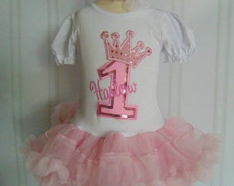 Princess Themed First Birthday Dress- Cute Pink Princess Outfit Personalized Age 1-Matching Tiara included-3 piece set