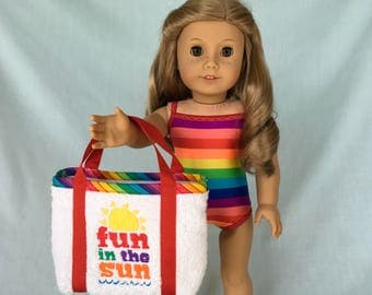 Rainbow Stripe Bathing Suit and Fun In The Sun Beach Bag for American Girl/18 Inch Doll