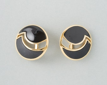 Vintage Trifari Black and Gold  Button Earrings