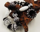 Glass Beads, Handmade Lampwork Bead Set for Earrings and for Pendant - White and Black Beads.