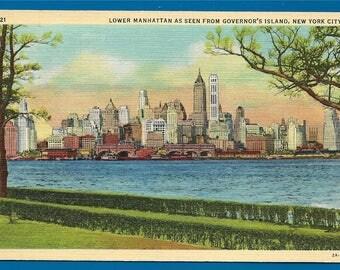 Vintage Linen Postcard - Lower Manhattan Skyline as Seen From Governor's Island New York City, New York  (2048)