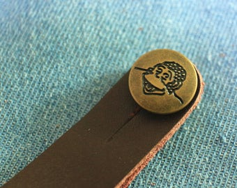 Cute Handmade  Brown Genuine Leather Ukulele Strap Button Strap Hook fits for All size ukulele (Soprano, Concert and Tenor)