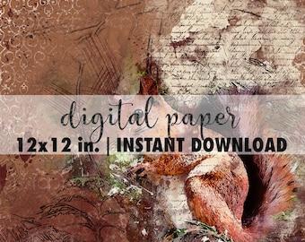 12x12 digital paper, premade scrapbook pages, 12x12 art print, scrapbook vintage paper, scrapbook download, animal background wild nature