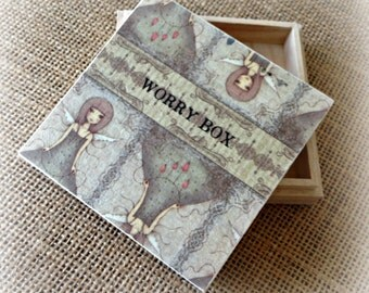 Worry Box - Angel Girl Design - Children & Adults - Handmade with Love in England