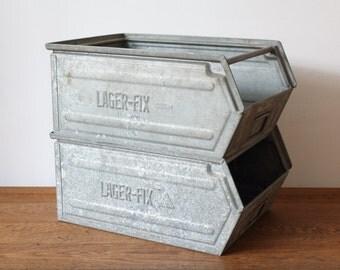 Metal industrial storage crate - vintage metal crate - industrial crate - stacking crate