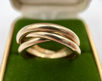 Vintage Solid 14K Gold Triple Band Rolling Trinity Ring