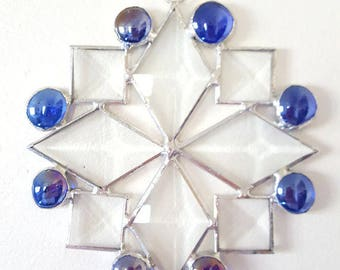 Beveled Stained Glass Snowflake Suncatcher with Colbalt Blue Glass Nuggets, Snowflake Ornament, Christmas Decoration, Gift for Teacher