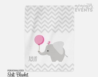 Elephant Baby Blanket - Baby Blanket with Name - Personalized Fleece Blanket - Baby Gift - Baby Shower Ideas - Pink Elephant & Bird SB1002