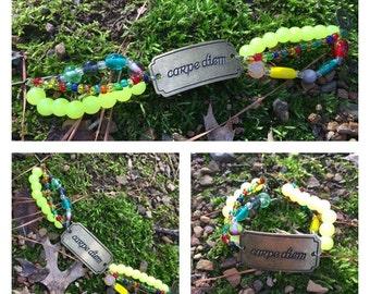 Carpe diem glass toggle bracelet