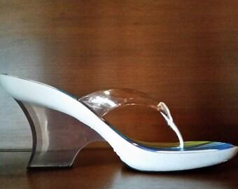VINTAGE Melissa Jelly Sandals - Lucite Heels - Platform Thongs - Summer Slides - 1950s Era Retro Wedges - Beach Chic - Vegan Jellies - SEXY!