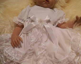 "Reborn Doll Baby dress in whitewith white lace for 18-20"" reborn dolls clothes   doll clothes baby vintage doll"