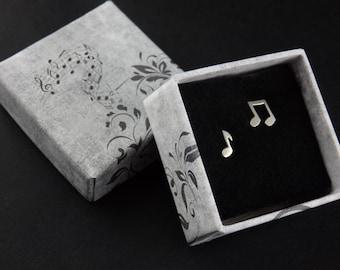 Silver Note Stud Earrings, Music studs
